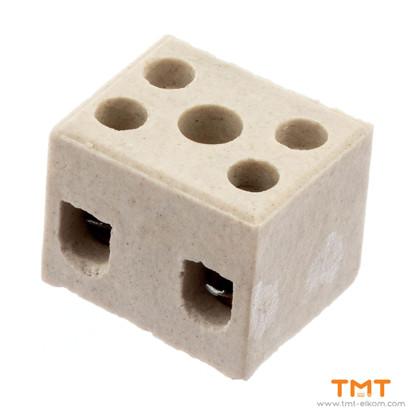 Picture of Ceramic luster terminal block, 2mm2, 2 pins, Elprom