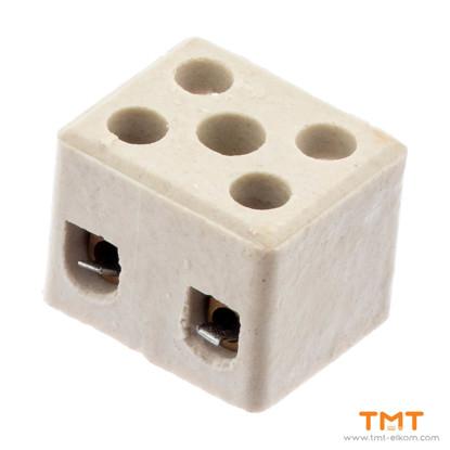 Picture of Ceramic luster terminal block, 4mm2, 2 pins, Elprom