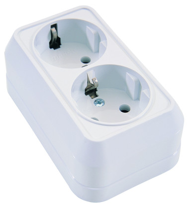 Picture of DOUBLE SOCKET OUTLET WHITE  MAKEL