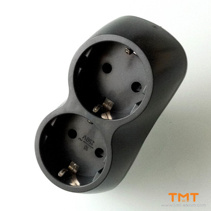 Picture of 2-way power plug,graphite,23001.02 Meloplam