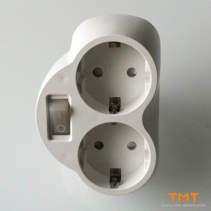 Picture of 2-way power plug,white,with on-off switch,23002 Meloplam