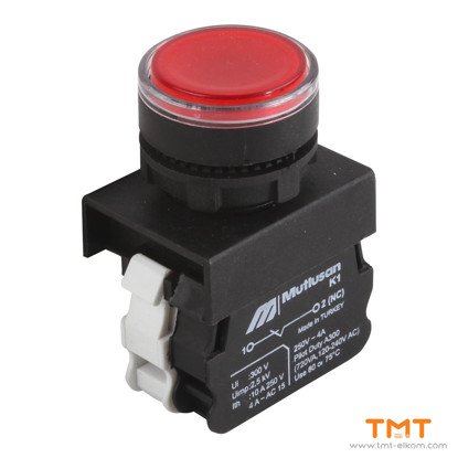 Picture of spring stop buton 1NC BA9S LED 220V RED